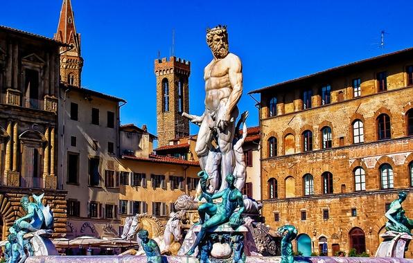 Picture home, Italy, Florence, Piazza della Signoria, the fountain of Neptune