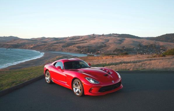 Picture Red, Sea, Auto, Shore, Dodge, Dodge, Viper, GTS, SRT, Sparkar