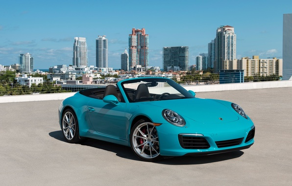 Picture the city, Wallpaper, 911, Porsche, car, Porsche, turquoise, skyscrapers, Cabriolet, Carrera S