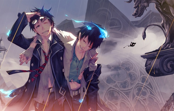 Picture blood, lantern, statue, demons, bandages, Gemini, blue flame, gargoyle, coal tar, Okumura Rin, Ao no …