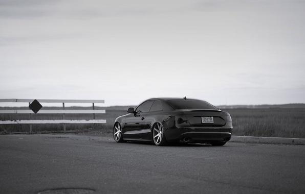 Picture Audi, black, Audi A5, drives, vossen, low
