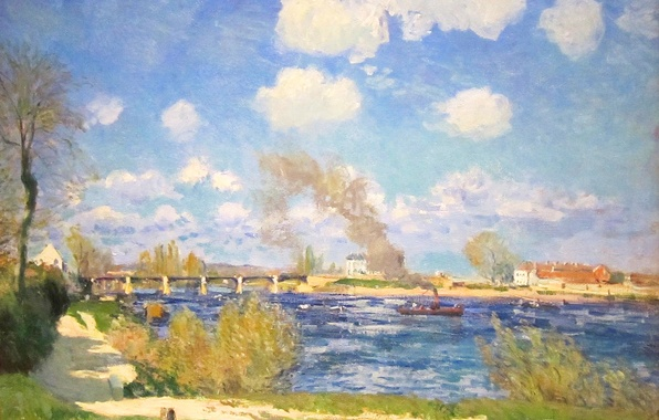 Picture the sky, clouds, bridge, river, picture, spring, steamer, Alfred Sisley