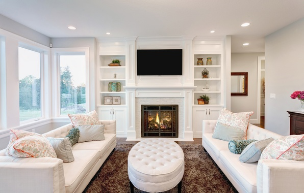 Picture comfort, Windows, interior, pillow, fireplace, sofas, living room