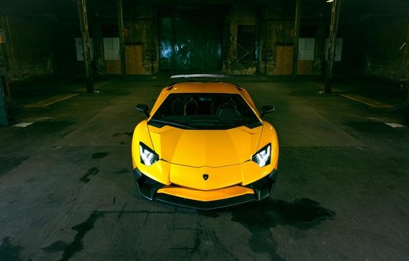 Picture car, auto, yellow, lights, Lamborghini, yellow, the front, Aventador, laborgini, Novitec, Torado, LP 750-4, Superveloce