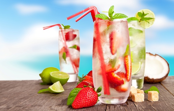 Picture ice, summer, berries, coconut, glasses, strawberry, sugar, lime, drinks, citrus, lemons, cocktails, tube, Mojito, cocktails, …