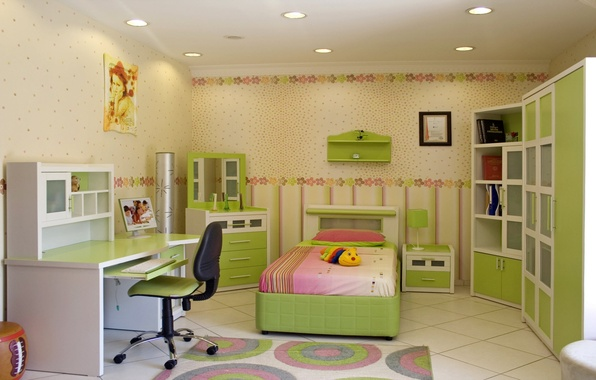 Picture flowers, design, style, table, room, toys, lamp, bed, interior, pillow, chair, wardrobe, bedroom, children's