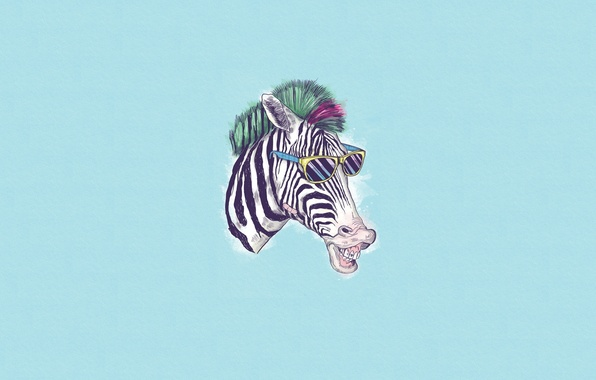 Picture Minimalism, Humor, Glasses, Zebra, Art