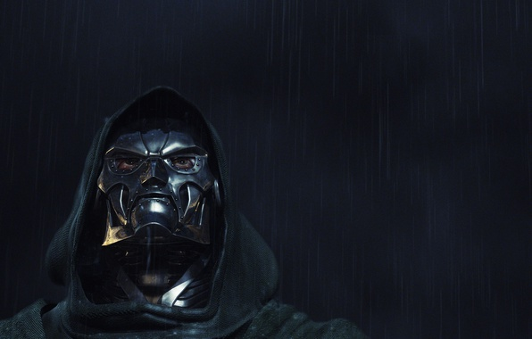 Picture look, rain, hood, Fantastic Four, iron mask, Doctor Doom, Marvel Comics. Marvel