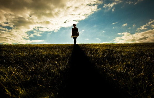 Picture the sky, grass, girl, the sun, rays, light, girls, mood, hills, mood, girls, morning, dress, ...