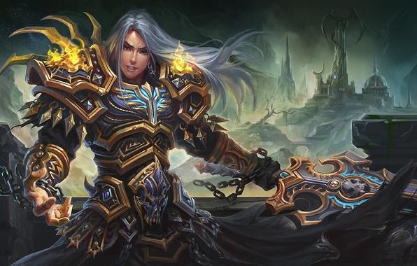 Picture castle, fire, dragon, sword, fantasy, art, guy, chain, armor