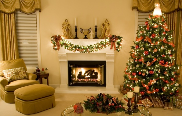 Picture decoration, lights, style, toys, interior, angel, chair, candles, Room, gifts, tree, fireplace, curtains, garland, table, …