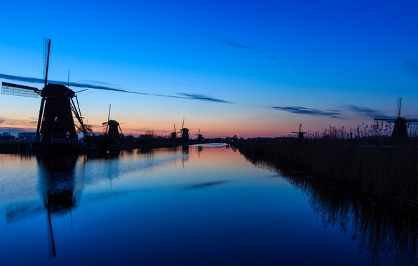 Picture the sky, water, clouds, sunset, surface, reflection, river, the evening, mill, Netherlands