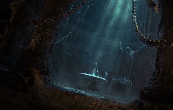 Picture light, sword, fantasy, art, temple, statue, chain, abandonment, gloomy