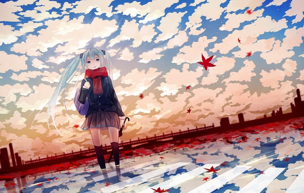 Picture autumn, umbrella, anime, girl, leaves, Vocaloid, anime, Miku, vokaloid