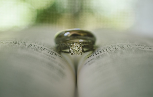 Picture stone, ring, book, wedding
