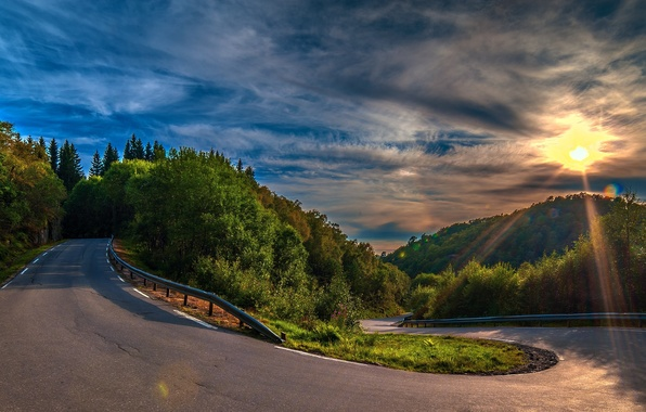 Picture road, forest, asphalt, clouds, trees, sunset, hills, turn