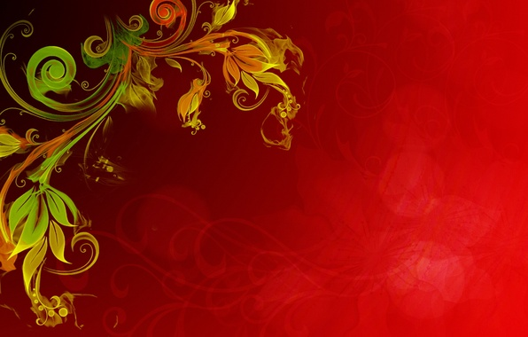 Picture flower, yellow, red, glare, background, fire, plant, texture, effect