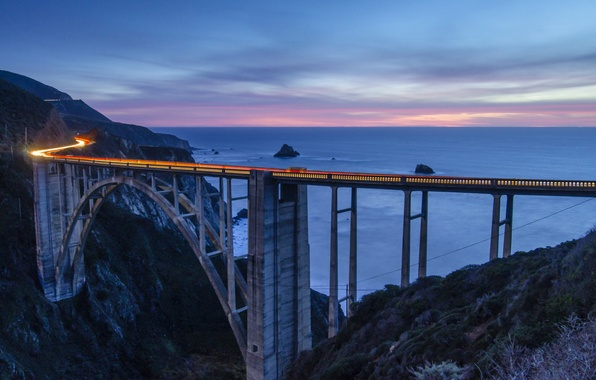 Picture the sky, clouds, sunset, mountains, bridge, pink, the evening, excerpt, CA, Bay, USA, Monterey