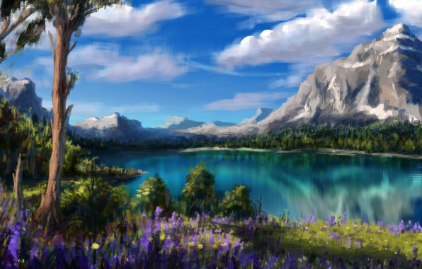 Picture clouds, trees, flowers, mountains, nature, lake, art
