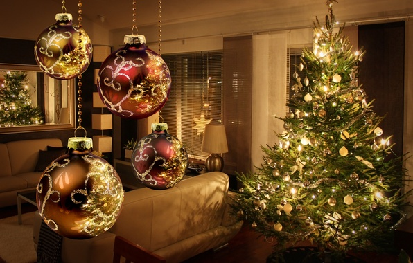 Picture decoration, lights, lights, tree, interior, New year, new year, merry christmas, decor, interior, decoration, christmas …