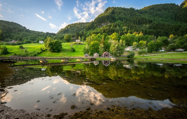 Picture forest, the sky, mountains, bridge, nature, lake, reflection, house