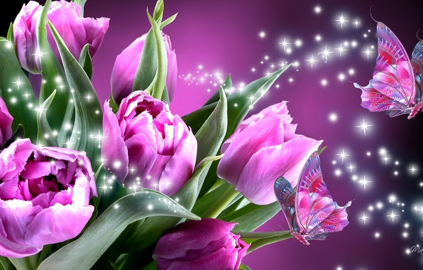 Picture flowers, collage, butterfly, wings, tulips, moth