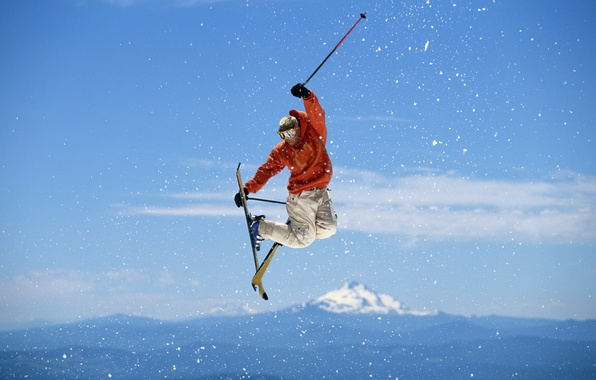 Picture the sky, jump, freestyle, Ski