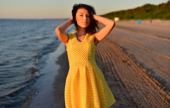 Picture beach, look, girl, face, background, the wind, hair