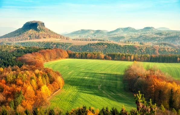Picture autumn, leaves, trees, landscape, nature, hills, yellow, Germany, orange, Saxon Switzerland, The Elbe Sandstone mountains, …