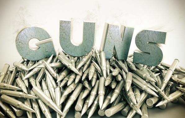 Picture metal, weapons, smoke, guns, cartridges
