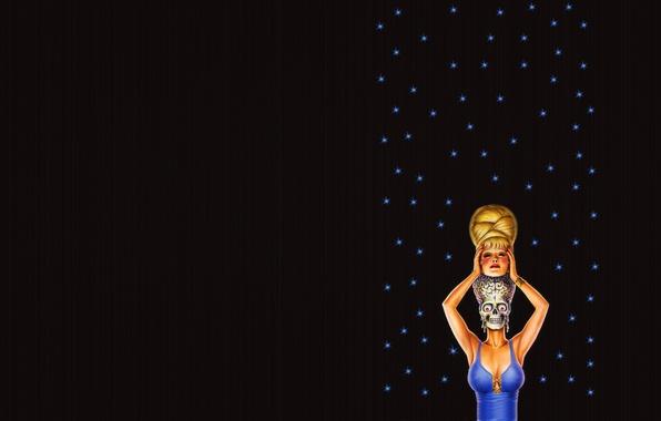 Picture girl, stars, strip, the dark background, skull, minimalism, head, alien, skeleton, alien, disguise, brains, blue …