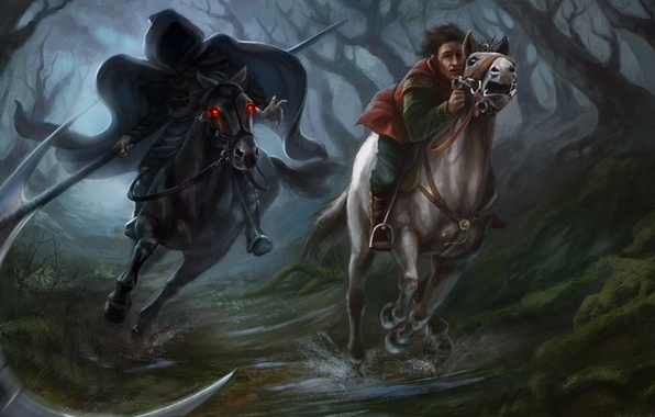 Picture forest, trees, death, fright, fiction, horse, people, chase, art, braid, rider