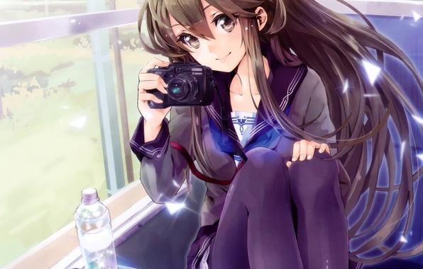 Picture girl, nature, smile, bottle, train, anime, window, art, the camera, schoolgirl, yuugen