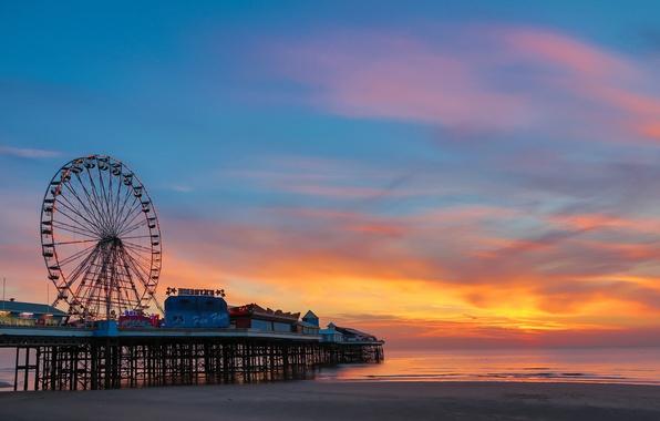 Picture beach, the ocean, dawn, pierce, Ferris wheel, amusement Park