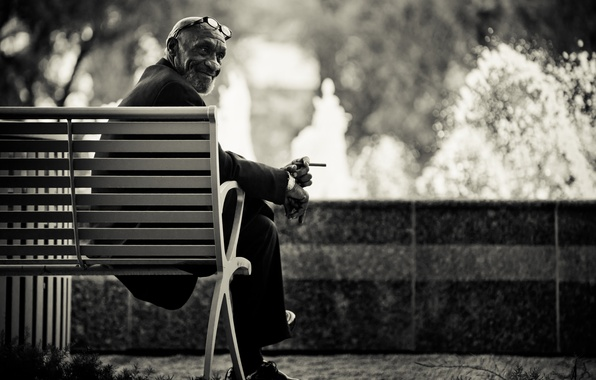Picture bench, watch, glasses, cigarette, male, Charles Siritho