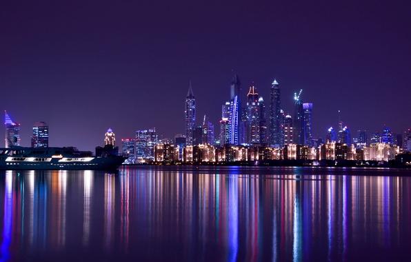 Picture City, Light, Purple, Dubai, Night, Emirates, Travel, Scape