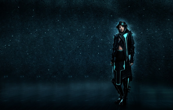 Picture girl, glow, costume, hood, the throne, blue background, tron, hoodie