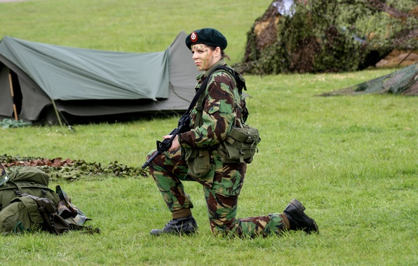 Picture grass, girl, weapons, soldiers, tent, equipment, uniform, camp