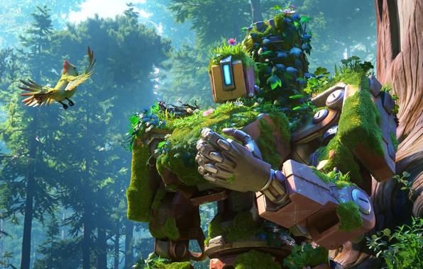 Picture gun, game, robot, sky, mecha, weapon, bird, cloud, cyborg, vegetation, machine gun, minigun, drone, Bastion, …
