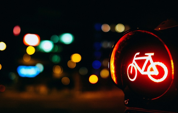 Picture road, macro, red, bike, lights, background, Wallpaper, blur, wallpaper, widescreen, background, macro, road sign, bokeh, …