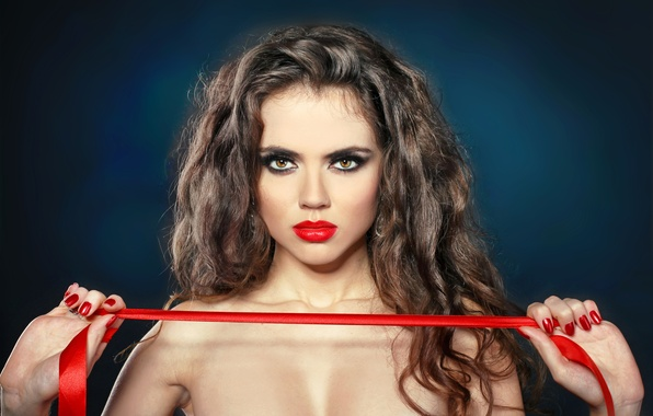 Picture look, girl, background, hair, hands, makeup, lipstick, lips, red ribbon