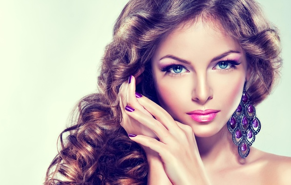 Photo Wallpaper Portrait Look Beauty Makeup Girl Blue Eyed
