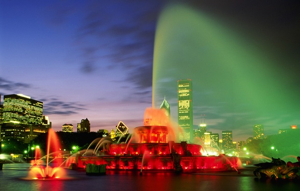 Picture night, fountain, laser show