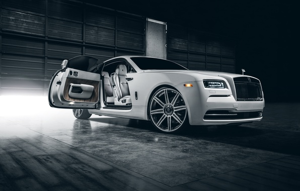 Picture Rolls-Royce, Car, White, Wheels, Class, Premium, Wraith, Vellano