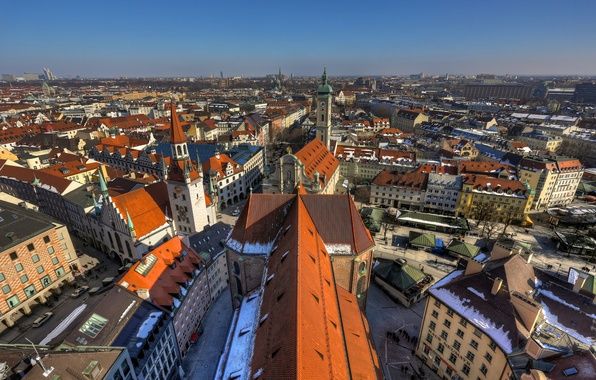 Picture building, Germany, Munich, roof, panorama, Germany, Munich