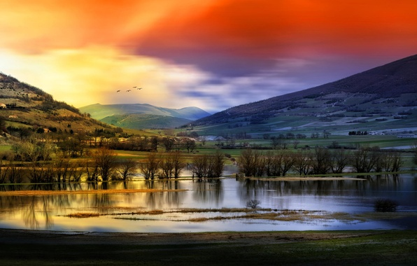 Picture the sky, water, trees, mountains, birds, Landscape