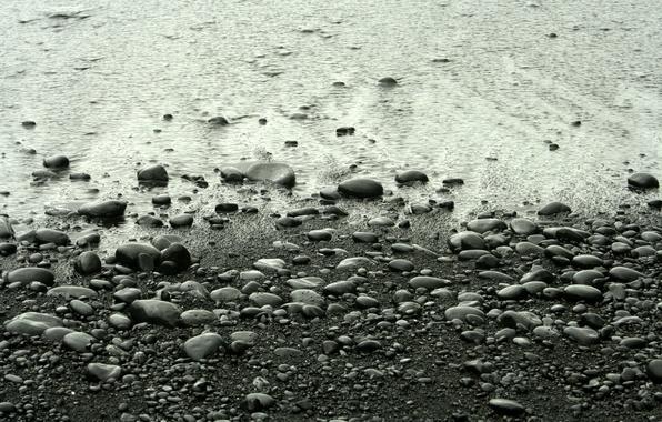 Picture beach, stones, surf