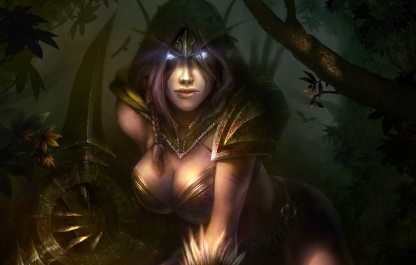 Picture forest, weapons, elf, art, elf, ears, wow, world of warcraft, Dmitriy Prozorov