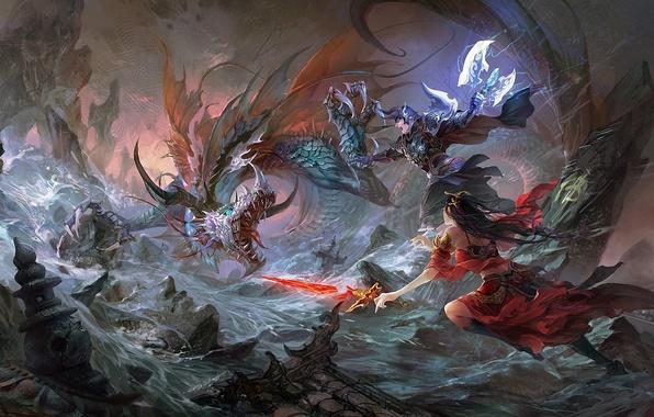Picture girl, river, rocks, dragon, sword, art, battle, guy, hgjart