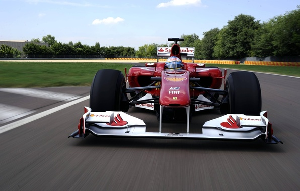 Picture speed, track, Ferrari, Fernando Alonso, Fernando Alonso, Ferrari F10, tests 2010